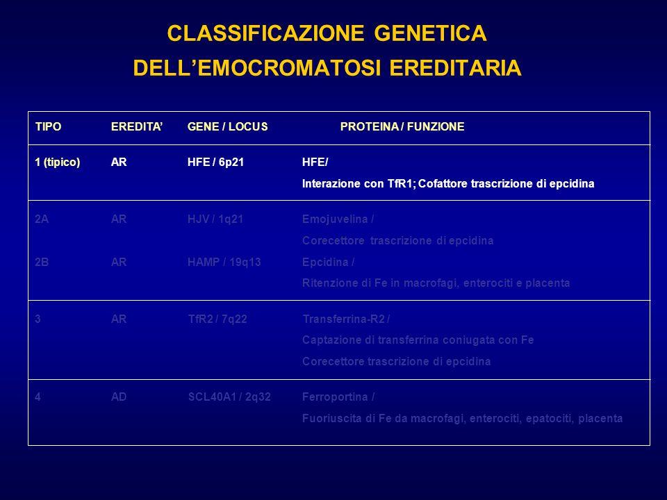 CLASSIFICAZIONE GENETICA DELL'EMOCROMATOSI EREDITARIA