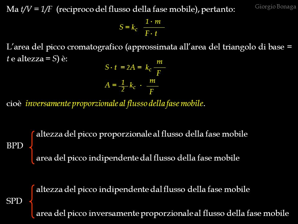 . Ma t/V = 1/F (reciproco del flusso della fase mobile), pertanto: