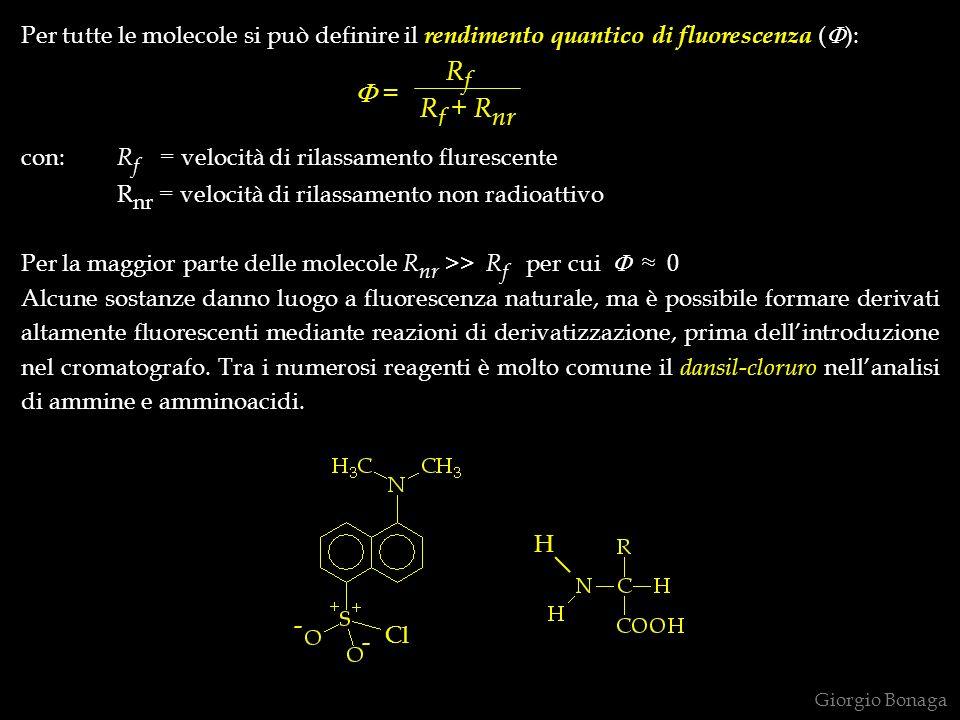 Per tutte le molecole si può definire il rendimento quantico di fluorescenza (F):