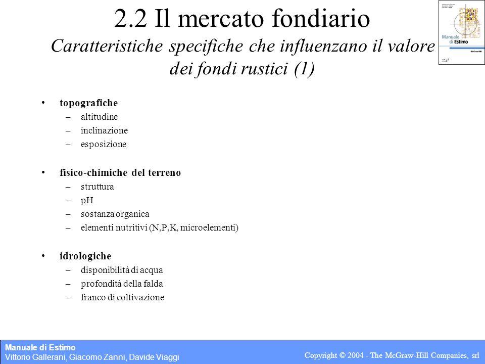 2.2 Il mercato fondiario Caratteristiche specifiche che influenzano il valore dei fondi rustici (1)