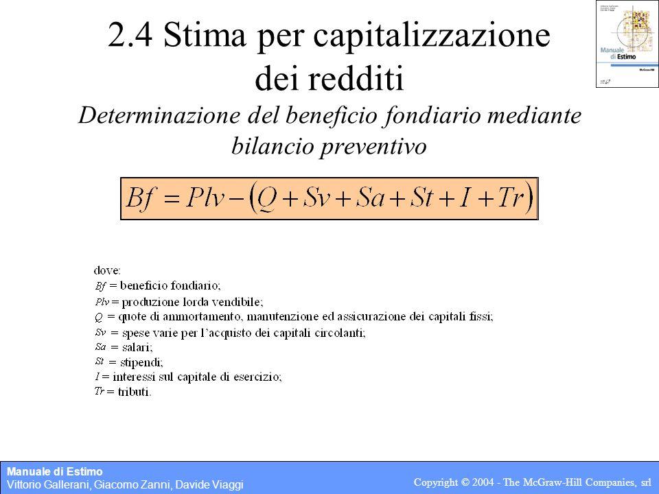 2.4 Stima per capitalizzazione dei redditi Determinazione del beneficio fondiario mediante bilancio preventivo