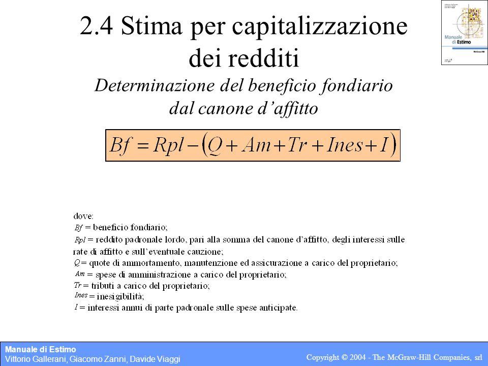 2.4 Stima per capitalizzazione dei redditi Determinazione del beneficio fondiario dal canone d'affitto