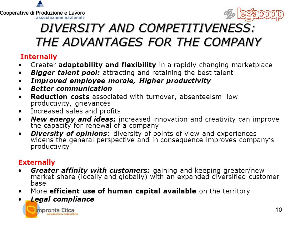 DIVERSITY AND COMPETITIVENESS: THE ADVANTAGES FOR THE COMPANY