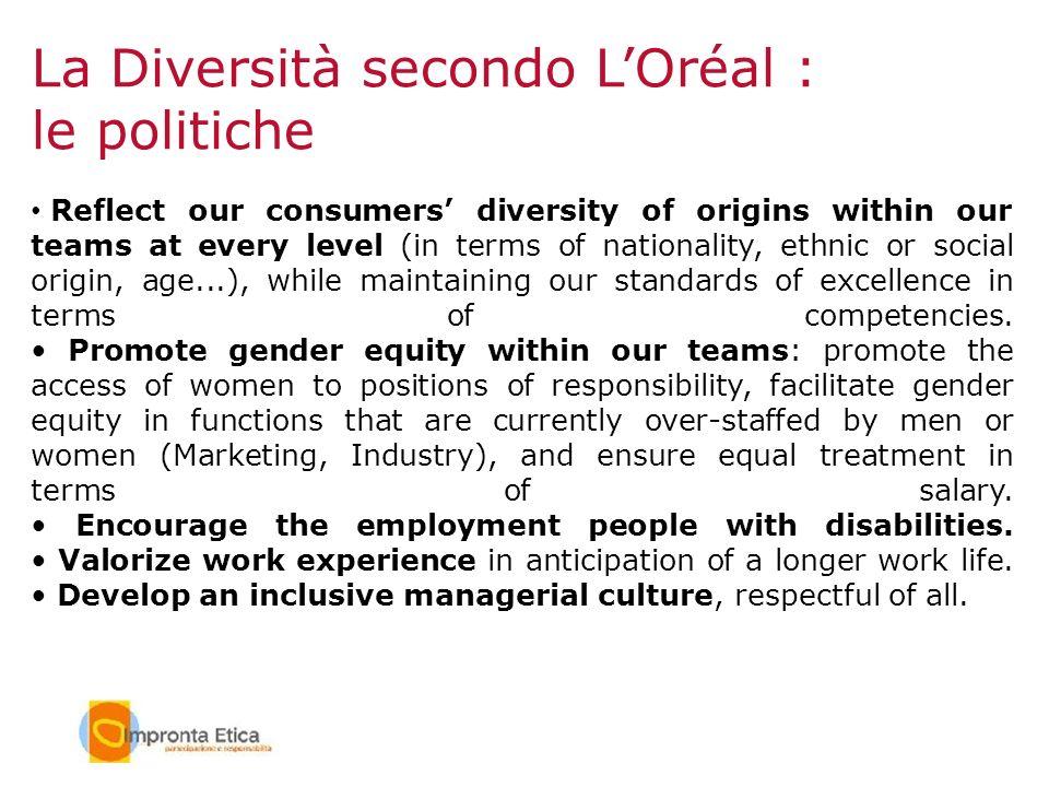 La Diversità secondo L'Oréal : le politiche