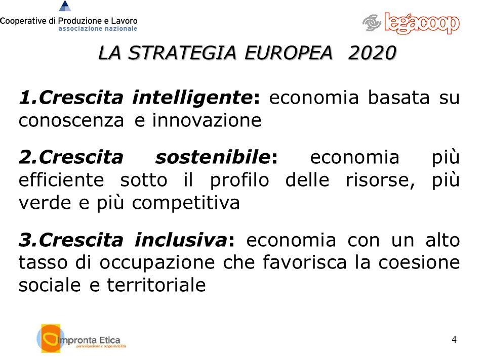 LA STRATEGIA EUROPEA 2020 Crescita intelligente: economia basata su conoscenza e innovazione.