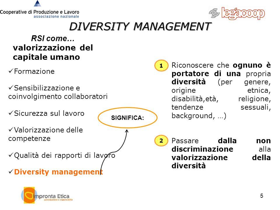 DIVERSITY MANAGEMENT RSI come… valorizzazione del capitale umano