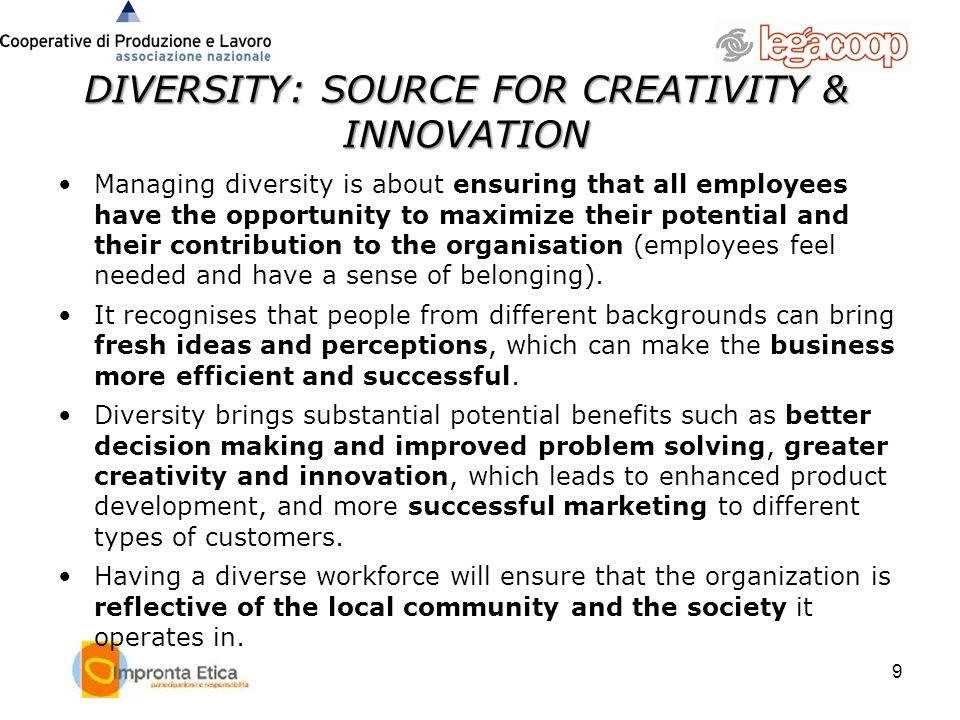 DIVERSITY: SOURCE FOR CREATIVITY & INNOVATION