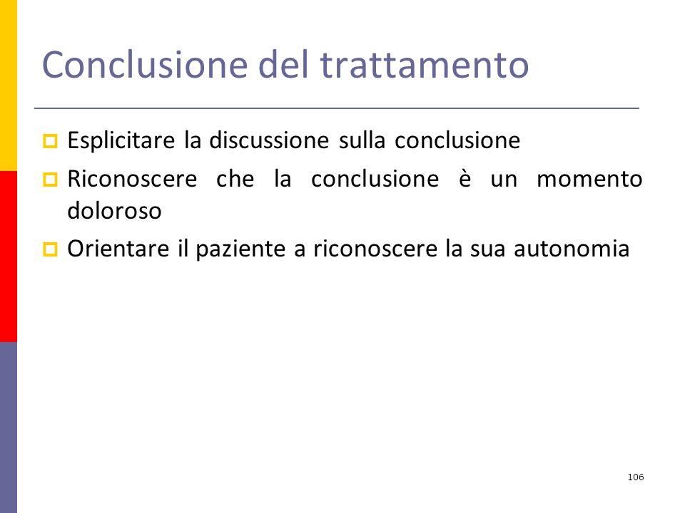 Conclusione del trattamento