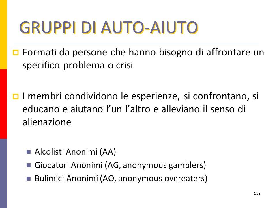 GRUPPI DI AUTO-AIUTO Formati da persone che hanno bisogno di affrontare un specifico problema o crisi.