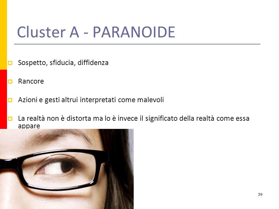Cluster A - PARANOIDE Sospetto, sfiducia, diffidenza Rancore