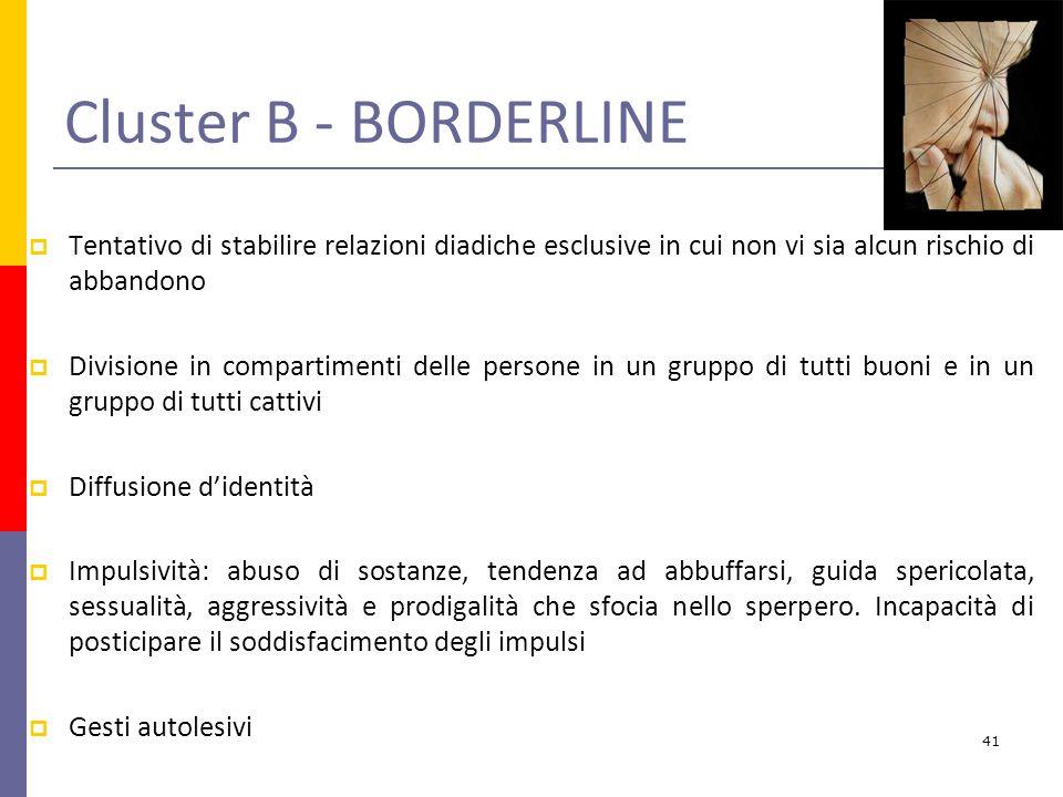 Cluster B - BORDERLINE Tentativo di stabilire relazioni diadiche esclusive in cui non vi sia alcun rischio di abbandono.