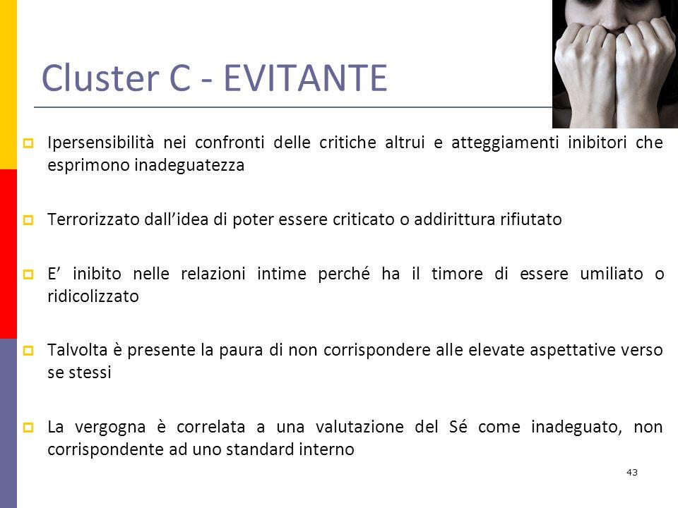 Cluster C - EVITANTE Ipersensibilità nei confronti delle critiche altrui e atteggiamenti inibitori che esprimono inadeguatezza.