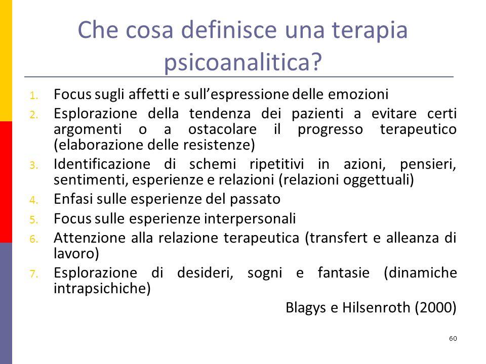 Che cosa definisce una terapia psicoanalitica