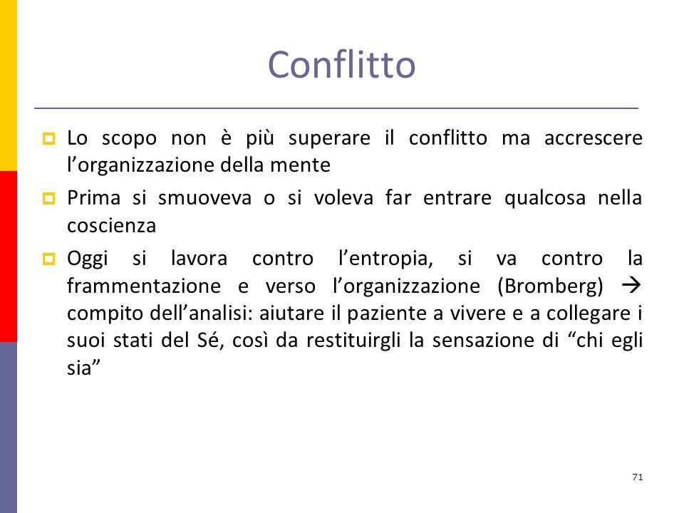 Conflitto Lo scopo non è più superare il conflitto ma accrescere l'organizzazione della mente.