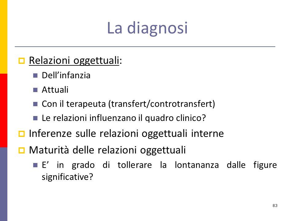 La diagnosi Relazioni oggettuali: