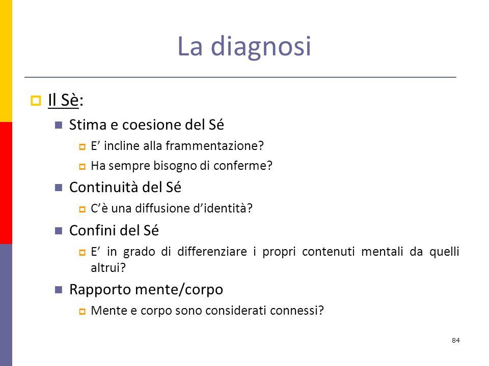 La diagnosi Il Sè: Stima e coesione del Sé Continuità del Sé