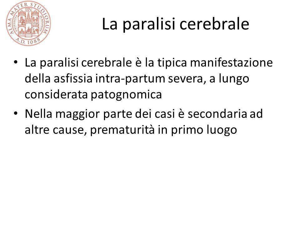 La paralisi cerebrale La paralisi cerebrale è la tipica manifestazione della asfissia intra-partum severa, a lungo considerata patognomica.