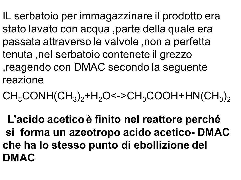 L'acido acetico è finito nel reattore perché