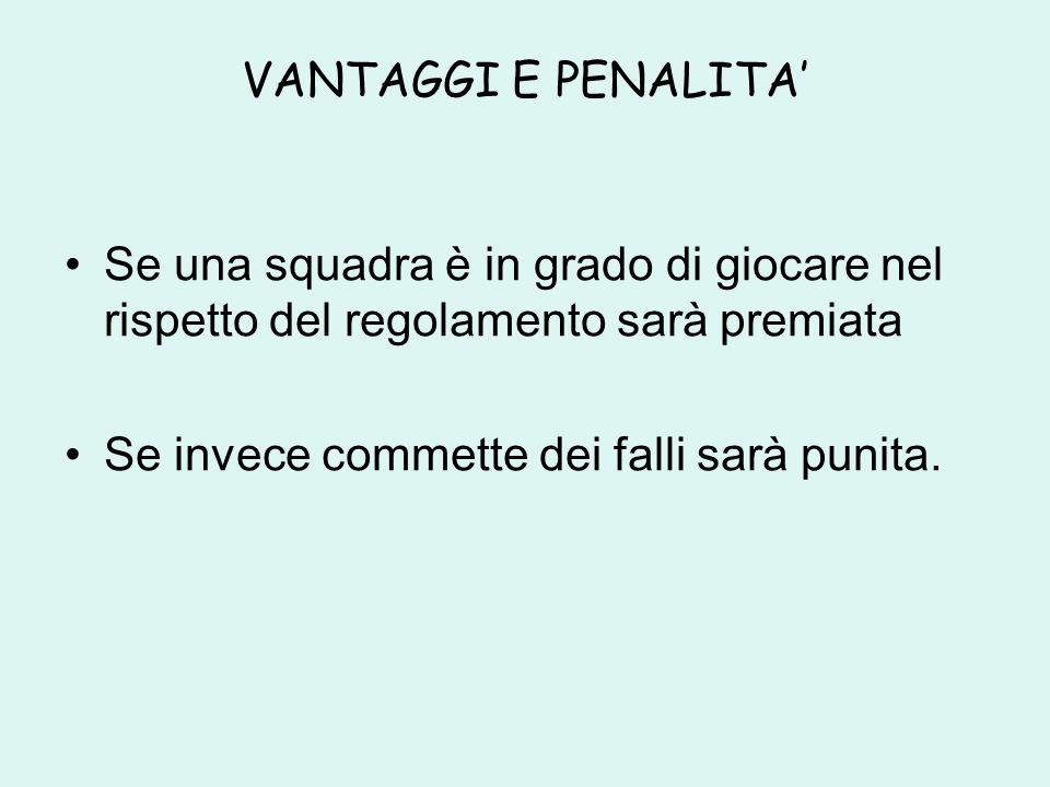 VANTAGGI E PENALITA' Se una squadra è in grado di giocare nel rispetto del regolamento sarà premiata.