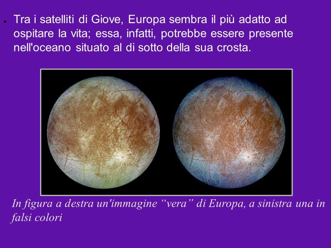 Tra i satelliti di Giove, Europa sembra il più adatto ad ospitare la vita; essa, infatti, potrebbe essere presente nell oceano situato al di sotto della sua crosta.