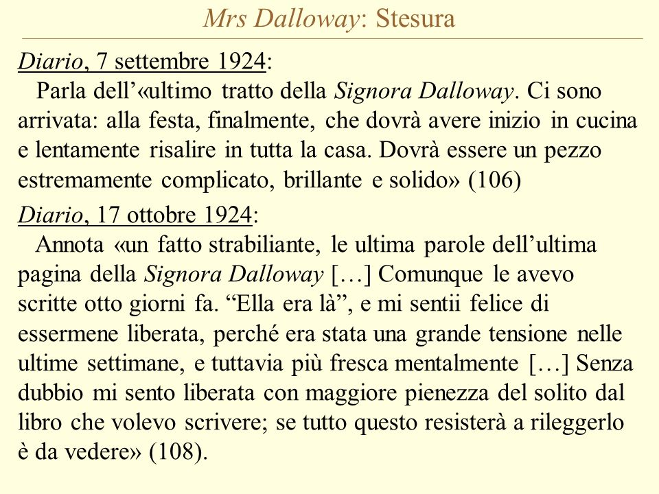 Mrs Dalloway: Stesura