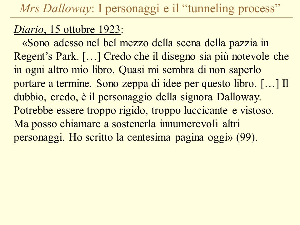 Mrs Dalloway: I personaggi e il tunneling process