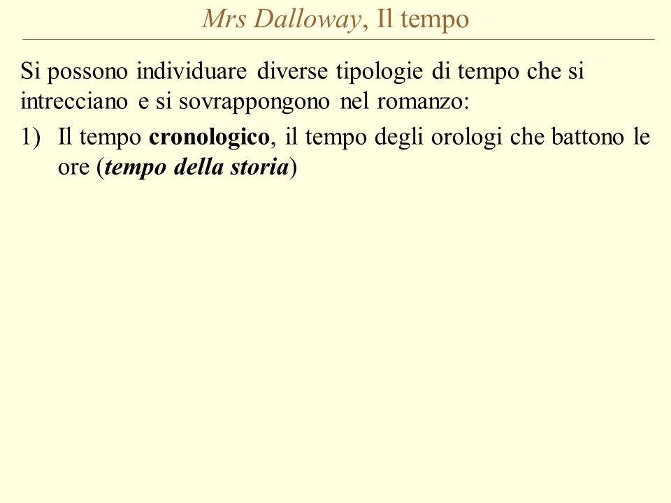 Mrs Dalloway, Il tempo Si possono individuare diverse tipologie di tempo che si intrecciano e si sovrappongono nel romanzo: