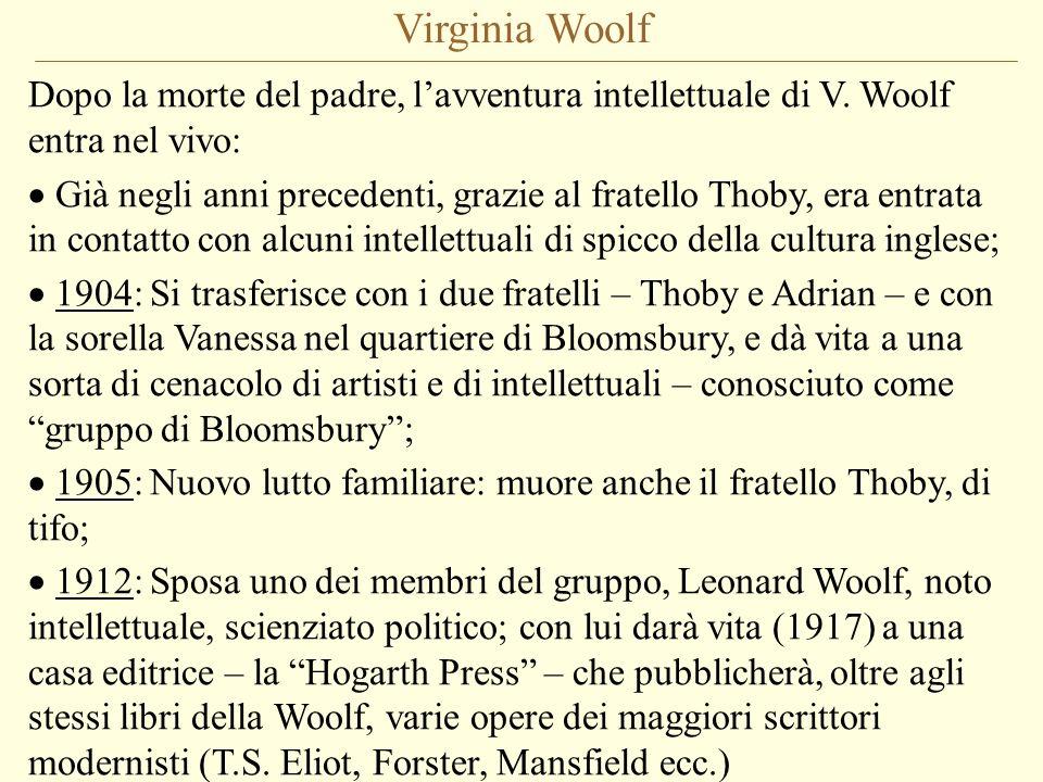 Virginia Woolf Dopo la morte del padre, l'avventura intellettuale di V. Woolf entra nel vivo: