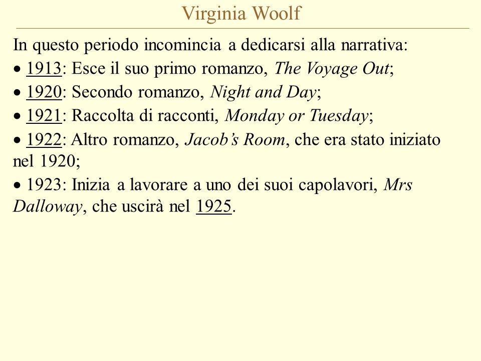 Virginia Woolf In questo periodo incomincia a dedicarsi alla narrativa: 1913: Esce il suo primo romanzo, The Voyage Out;