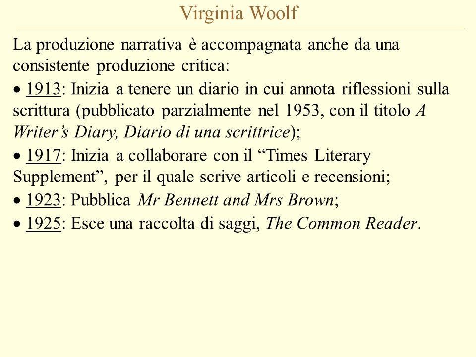 Virginia Woolf La produzione narrativa è accompagnata anche da una consistente produzione critica: