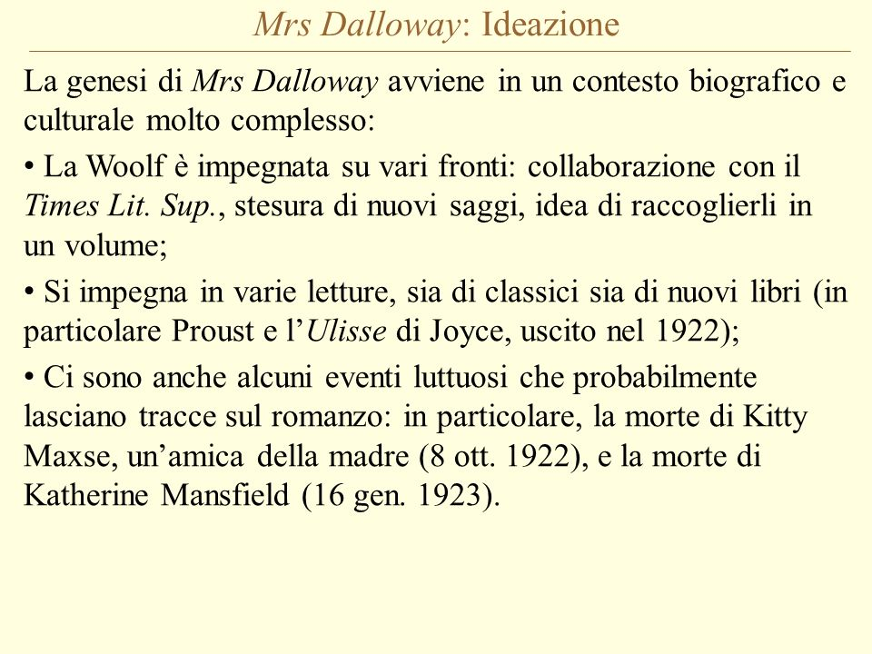 Mrs Dalloway: Ideazione