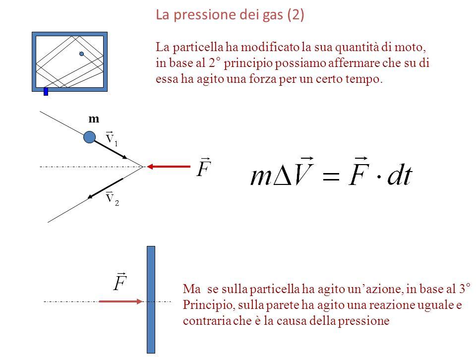 La pressione dei gas (2) La particella ha modificato la sua quantità di moto, in base al 2° principio possiamo affermare che su di.