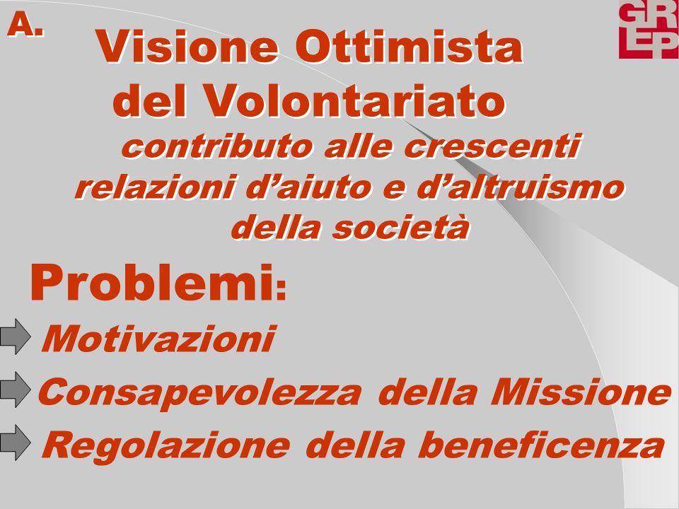 Problemi: Visione Ottimista del Volontariato Motivazioni