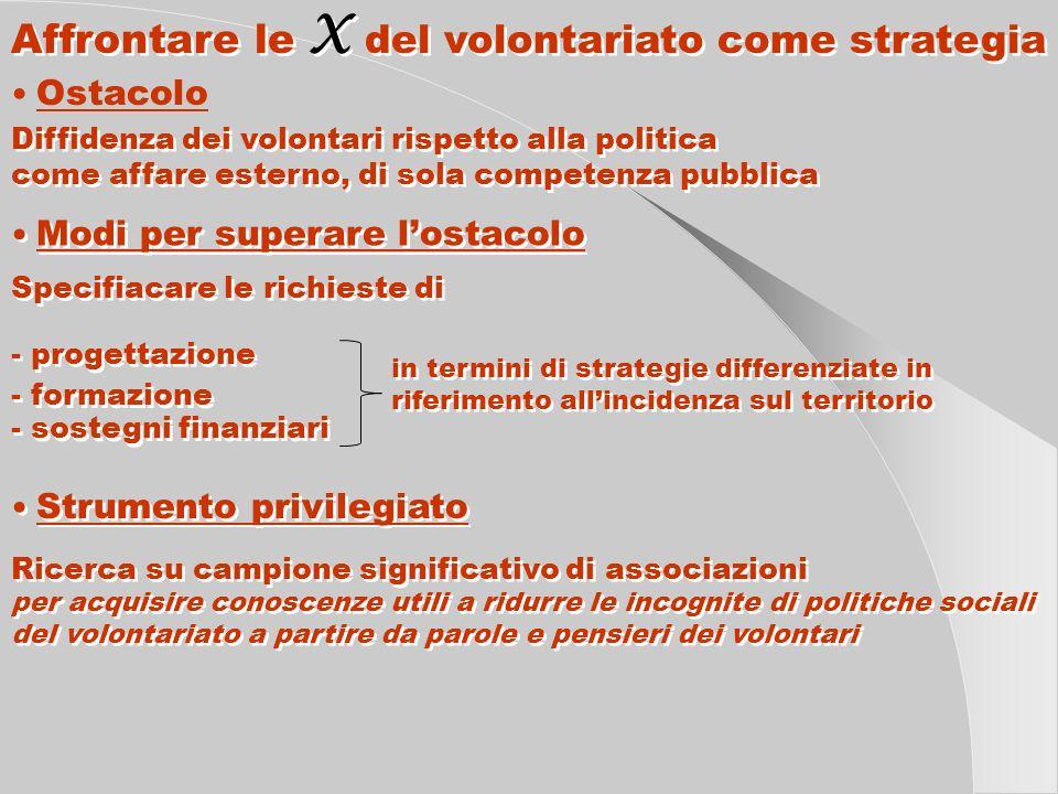 Affrontare le X del volontariato come strategia