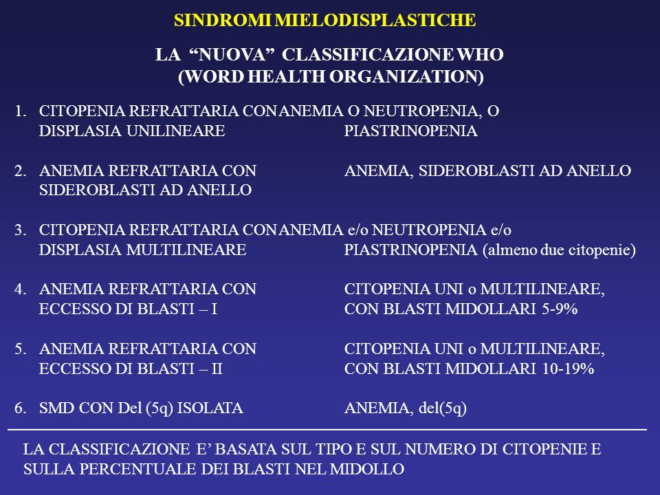 LA NUOVA CLASSIFICAZIONE WHO (WORD HEALTH ORGANIZATION)