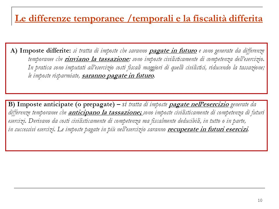 Le differenze temporanee /temporali e la fiscalità differita