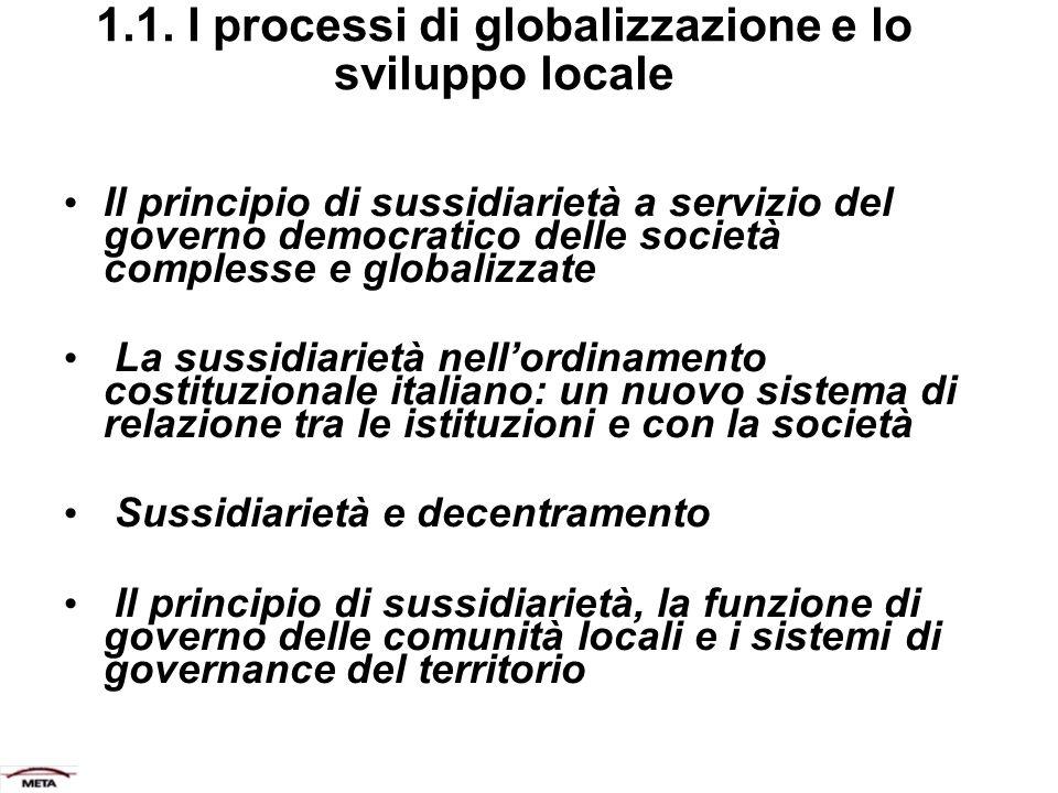 1.1. I processi di globalizzazione e lo sviluppo locale