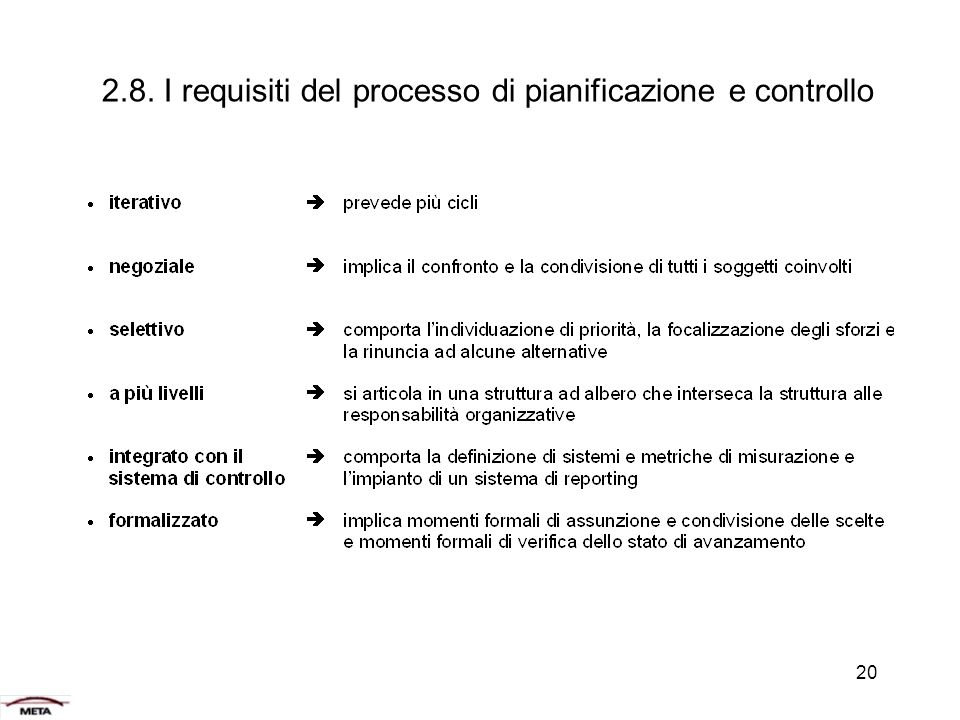 2.8. I requisiti del processo di pianificazione e controllo