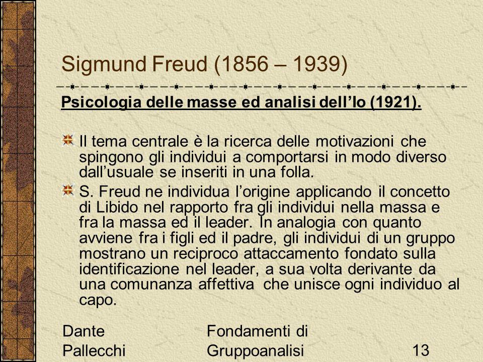 Sigmund Freud (1856 – 1939) Psicologia delle masse ed analisi dell'Io (1921).
