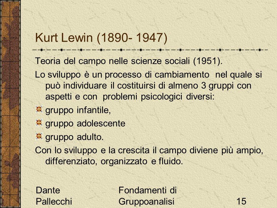 Kurt Lewin (1890- 1947) Teoria del campo nelle scienze sociali (1951).