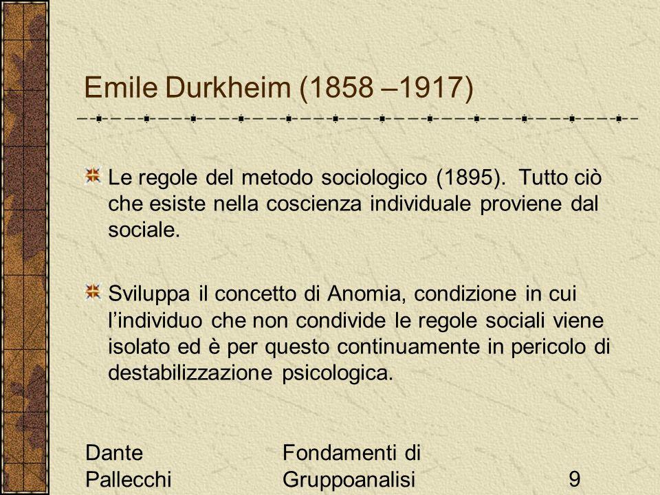 Emile Durkheim (1858 –1917) Le regole del metodo sociologico (1895). Tutto ciò che esiste nella coscienza individuale proviene dal sociale.