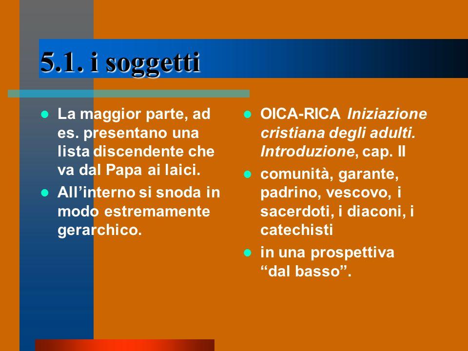 5.1. i soggetti La maggior parte, ad es. presentano una lista discendente che va dal Papa ai laici.