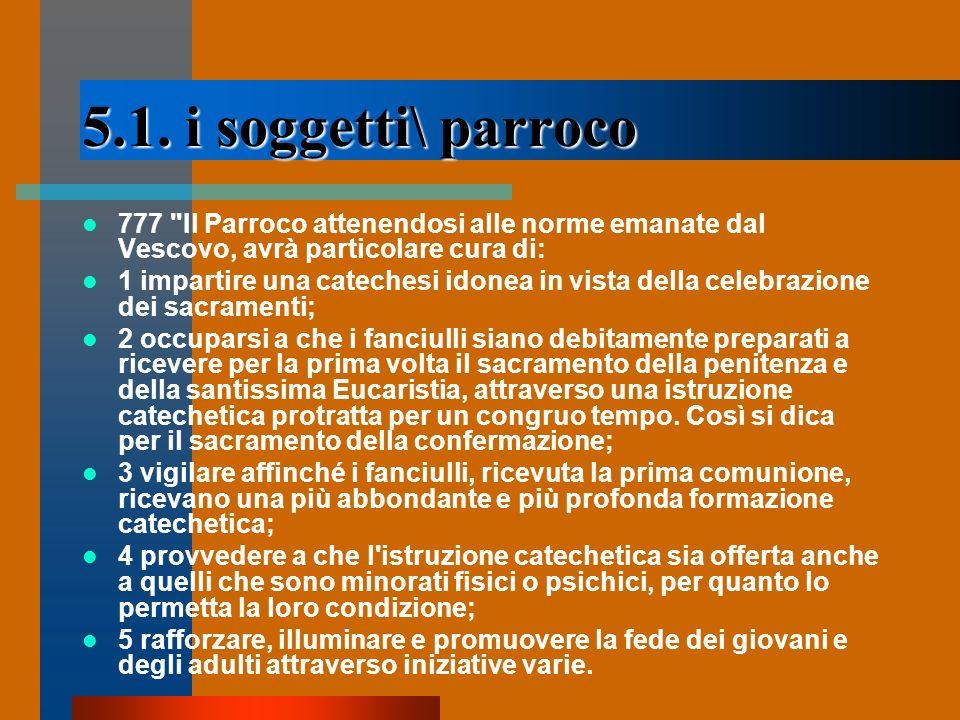 5.1. i soggetti\ parroco 777 Il Parroco attenendosi alle norme emanate dal Vescovo, avrà particolare cura di:
