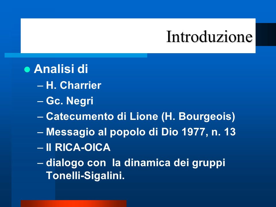 Introduzione Analisi di H. Charrier Gc. Negri