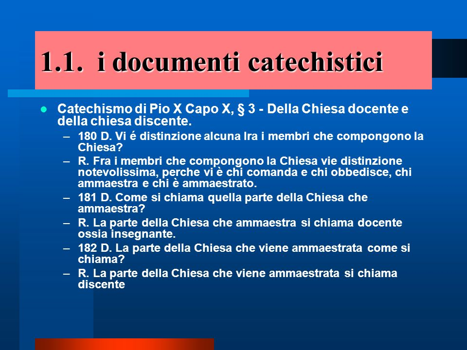 1.1. i documenti catechistici