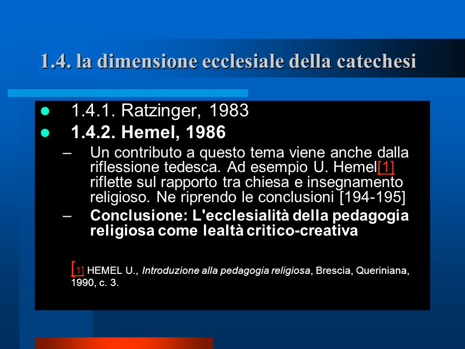 1.4. la dimensione ecclesiale della catechesi