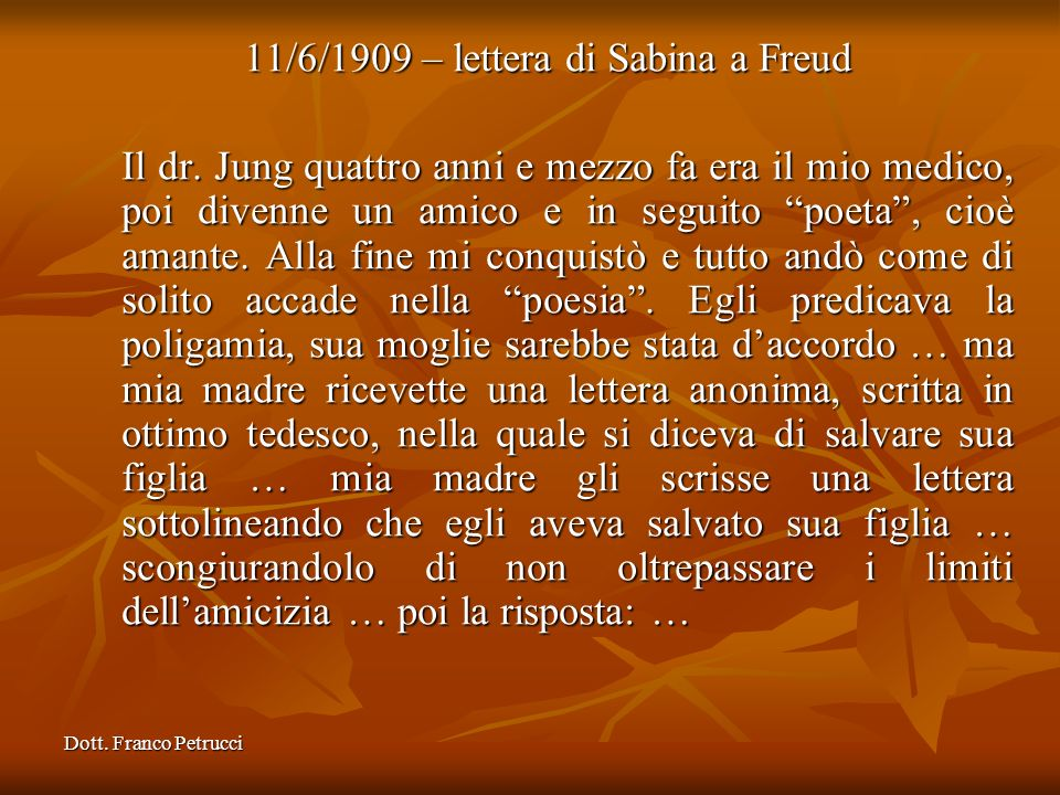 11/6/1909 – lettera di Sabina a Freud