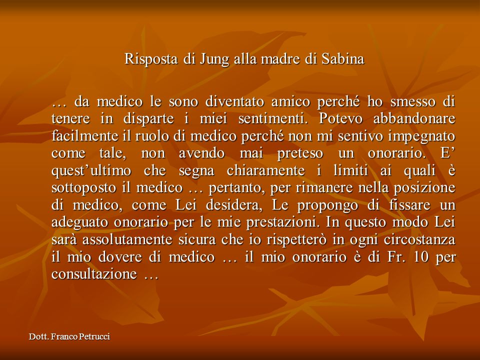 Risposta di Jung alla madre di Sabina