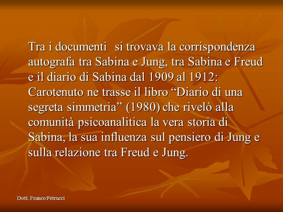 Tra i documenti si trovava la corrispondenza autografa tra Sabina e Jung, tra Sabina e Freud e il diario di Sabina dal 1909 al 1912: Carotenuto ne trasse il libro Diario di una segreta simmetria (1980) che rivelò alla comunità psicoanalitica la vera storia di Sabina, la sua influenza sul pensiero di Jung e sulla relazione tra Freud e Jung.