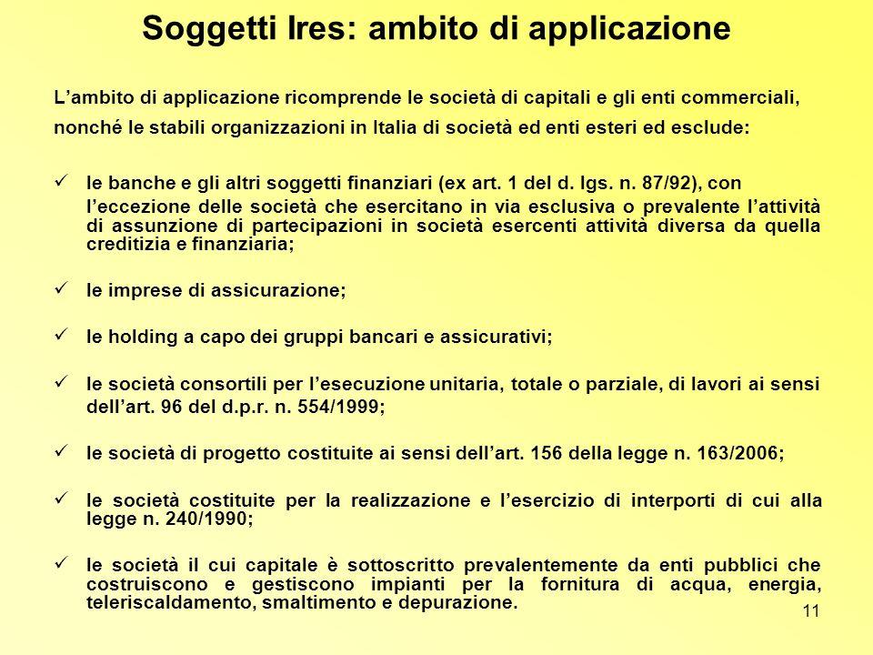 Soggetti Ires: ambito di applicazione